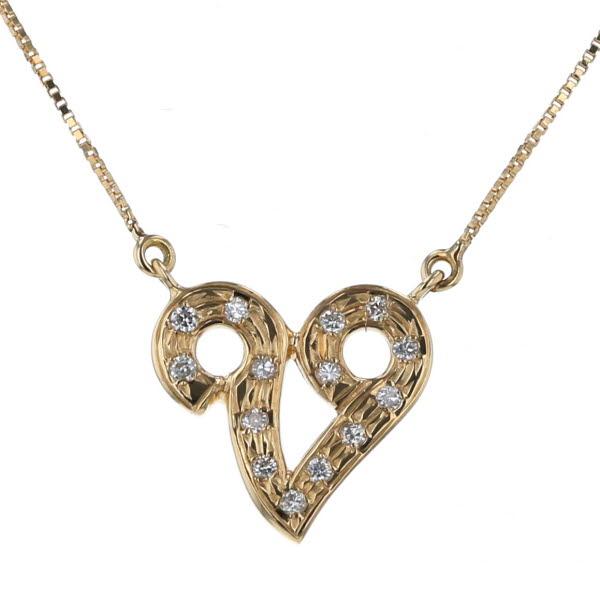 K18YG イエローゴールド ネックレス ダイヤモンド 0.09ct V字 ハート デザイン 41cm【新品仕上済】【el】【中古】【送料無料】