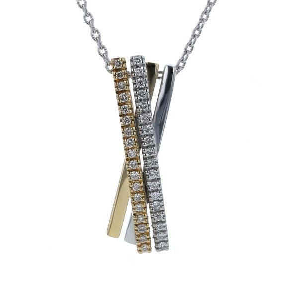 SAMISTAR-D K18WG YG ホワイトゴールド ネックレス ダイヤモンド 0.19ct クロス 3カラー 40cm【新品仕上済】【zz】【中古】【送料無料】