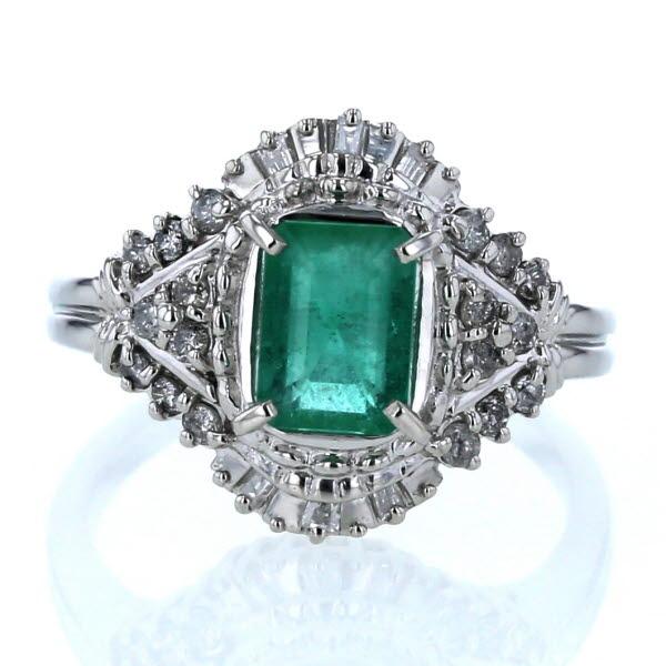 Pt900 プラチナ リング エメラルド 1.30ct ダイヤモンド 0.34ct 菱形 デザイン 11号 指輪【新品仕上済】【zz】【中古】【送料無料】