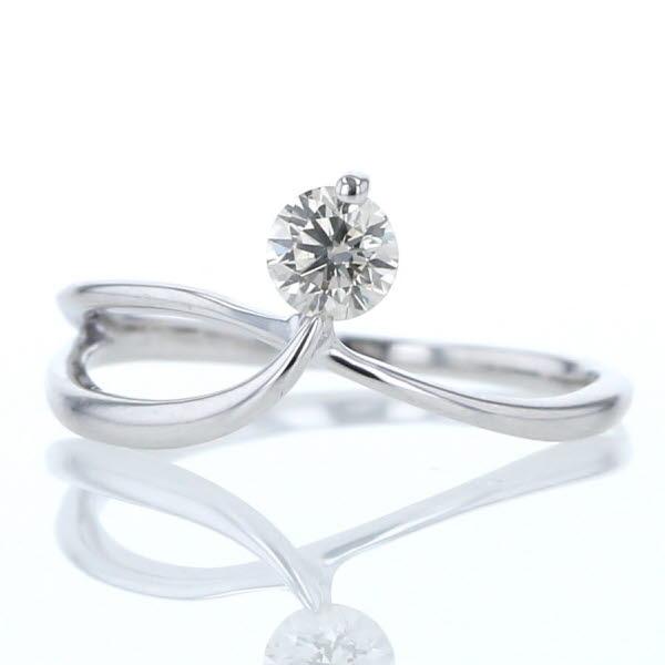 舗 大特価品 K10WG ホワイトゴールド リング ダイヤモンド 0.25ct 1粒 クロス 送料無料 中古 超激得SALE 新品仕上済 pa 9号 ウェーブ シンプル 指輪