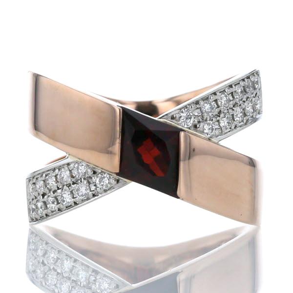 LaVerite ベリテ K18PG Pt900 プラチナ リング ガーネット 1.20ct ダイヤモンド 0.31ct クロス パヴェ 指輪 16号【新品仕上済】【zz】【中古】【送料無料】