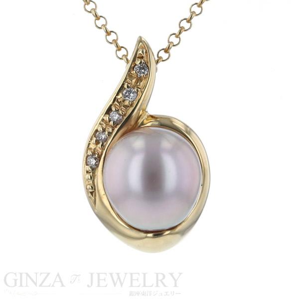 K18 イエローゴールド 真珠 パール ダイヤモンド 0.05ct スライド マールチェーン レディース 44cm 【新品仕上済】 【zz】【中古】【送料無料】