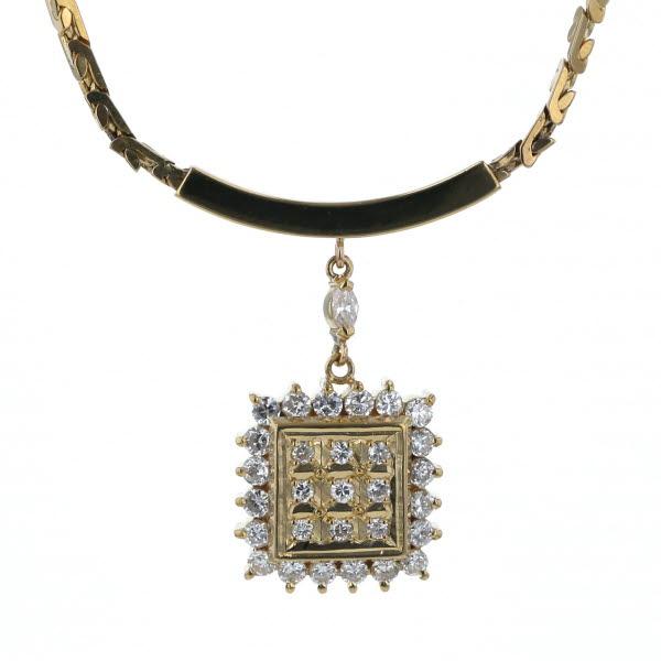 UNOAERRE ウノアエレ K18YG イエローゴールド ネックレス ダイヤモンド 0.49ct 取り巻き デザイン 40cm【新品仕上済】【el】【中古】