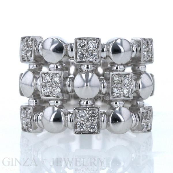 ブロック 幅広 デザイン スタッズ ダイヤモンド 0.43ct 個性的 11.5号 K18WG 新品仕上済 中古 ホワイトゴールド zz 春の新作 送料無料 お得セット 透かし 指輪 リング