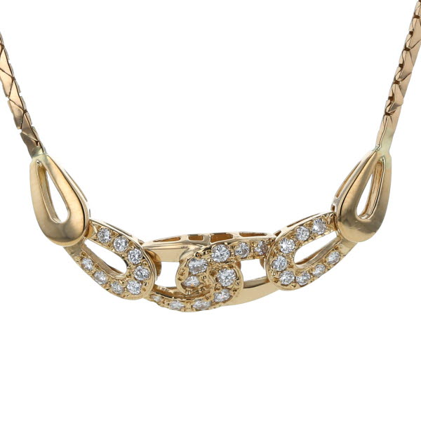 K18YG イエローゴールド ネックレス ダイヤモンド 0.31ct クロス 両引き チェーン デザイン 39cm【新品仕上済】【el】【中古】【送料無料】