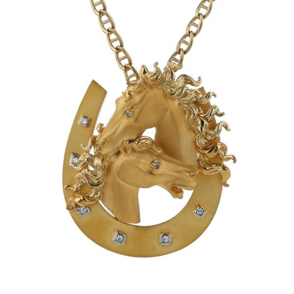 Carrera y Carrera カレライカレラ K18YG イエローゴールド ネックレス ダイヤモンド 馬蹄 ホースシュー 55.5cm【新品仕上済】【pa】【中古】【送料無料】