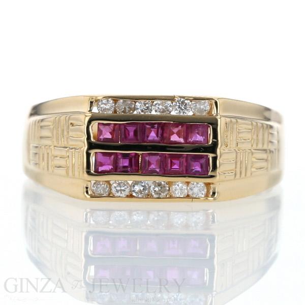 K18 イエローゴールド リング ルビー 0.47ct ダイヤモンド 0.18ct デザイン 20.5号 指輪【新品仕上済】【zz】【中古】【送料無料】