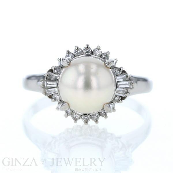 Pt850 プラチナ リング 真珠 9.5mm ダイヤモンド 0.45ct 23号 取り巻き デザイン【新品仕上済】【pa】【中古】【送料無料】