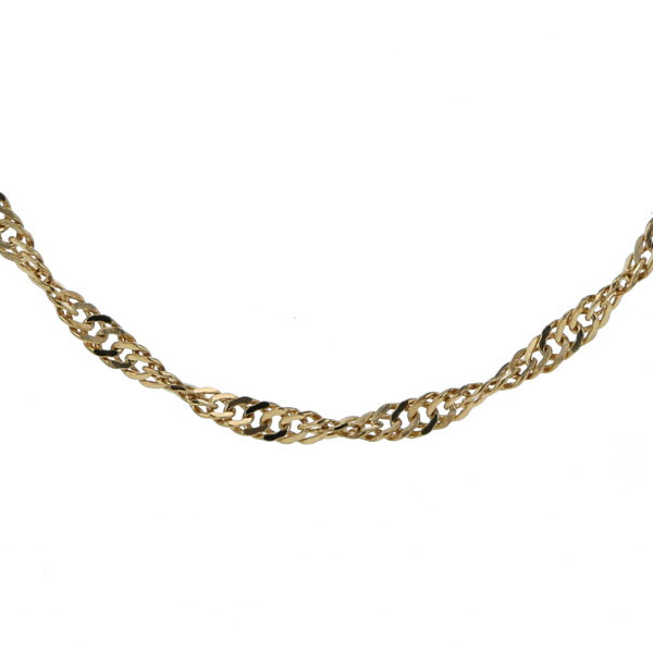 K18YG イエローゴールド ネックレス ツイスト チェーン スクリュー デザイン 43cm【新品仕上済】【pa】【中古】【送料無料】