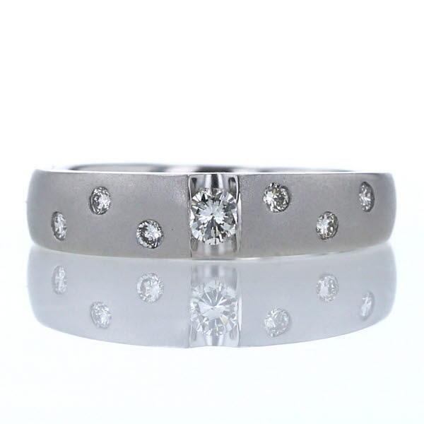 K18WG ホワイトゴールド リング ダイヤモンド0.22ct シンプル デザイン 13号 指輪【新品仕上済】【zz】【中古】【送料無料】