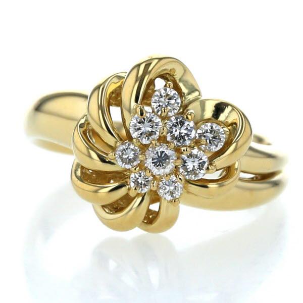 K18YG イエローゴールド リング ダイヤモンド 0.30ct フラワー 花 植物 透かし 指輪 10.5号【新品仕上済】【zz】【中古】【送料無料】