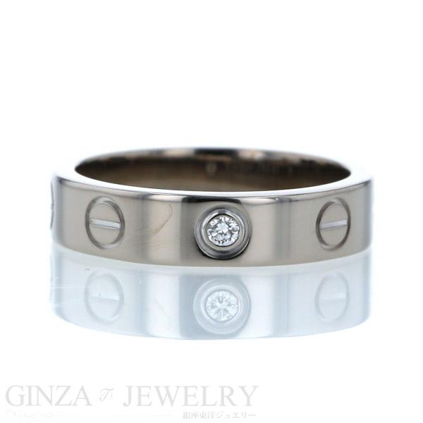 Cartier カルティエ ミニ ラブリング K18 ホワイトゴールド ダイヤモンド 1石 平打ち デザイン 7号 指輪 【新品仕上済】 【af】【送料無料】