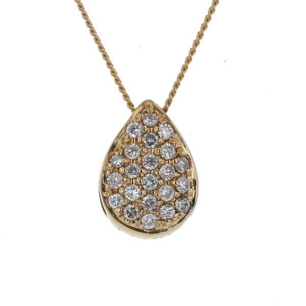 K18YG イエローゴールド ネックレス パヴェ ダイヤモンド 0.17ct/0.25ct リバーシブル 1粒 雫 44cm【新品仕上済】【af】【中古】【送料無料】