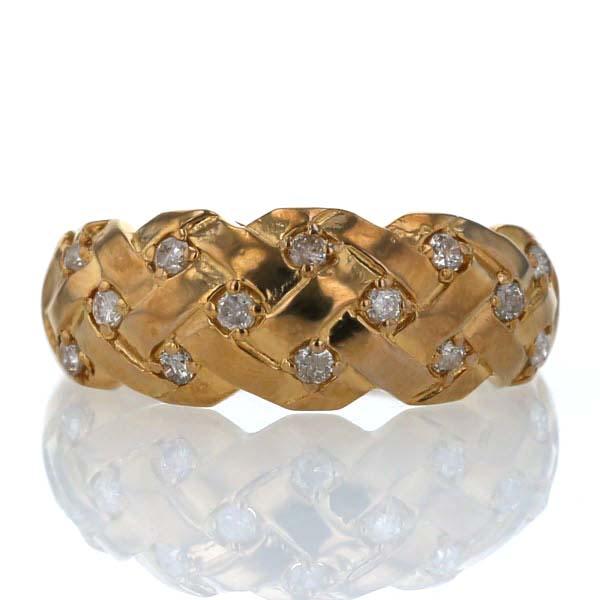 K24YG 純金 イエローゴールド リング ダイヤモンド 0.28ct 編み込み 編み目 幅広 デザイン メンズ レディース 指輪 19号【新品仕上済】【pa】【中古】【送料無料】