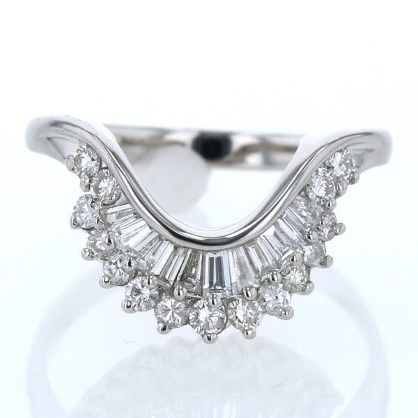 Pt900 プラチナ リング ダイヤモンド 1.00ct ウェーブ V字 テーパー デザイン 大きめ 指輪 20号【新品仕上済】【zz】【中古】【送料無料】