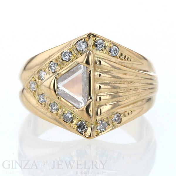 K18 イエローゴールド リング ダイヤモンド 0.60ct/0.19ct デザイン 11.5号 指輪【新品仕上済】【zz】【中古】【送料無料】
