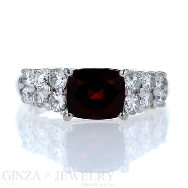 Pt900 プラチナ リング ガーネット2.20ct ダイヤモンド0.65ct 7号 指輪【新品仕上済】【zz】【中古】【送料無料】