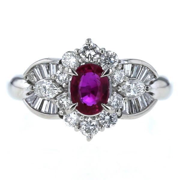 Pt900 プラチナ リング ルビー 0.67ct ダイヤモンド 0.83ct 取り巻き テーパーカット デザイン 指輪 10.5号【新品仕上済】【el】【中古】【送料無料】