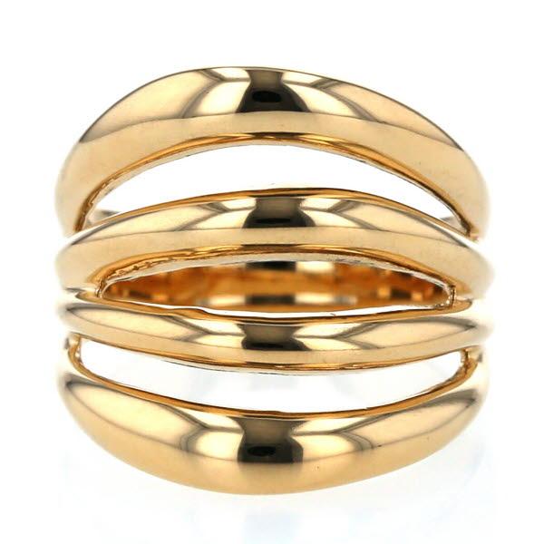 K18YG イエローゴールド リング 4連 ライン 幅広 デザイン指輪 メンズ レディース 金 11号 【新品仕上済】【pa】【中古】【送料無料】