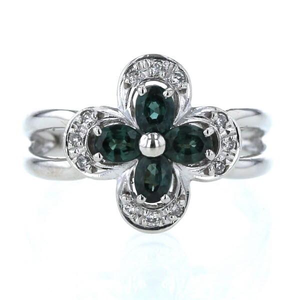 Pt900 プラチナ リング カラーチェンジガーネット 0.80ct ダイヤモンド 0.10ct フラワー 花 植物 透かし 指輪 12.5号【新品仕上済】【zz】【中古】【送料無料】