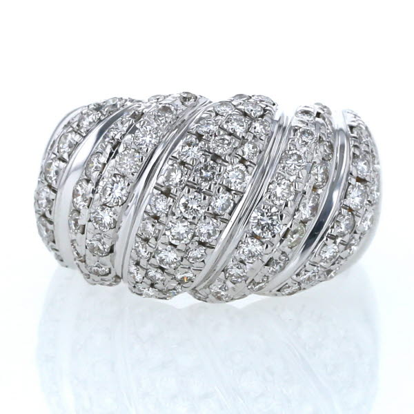 K18WG ホワイトゴールド リング ダイヤモンド 0.60ct/0.45ct ドーム パヴェ 縞模様 幅広 指輪 13号【新品仕上済】【zz】【中古】【送料無料】