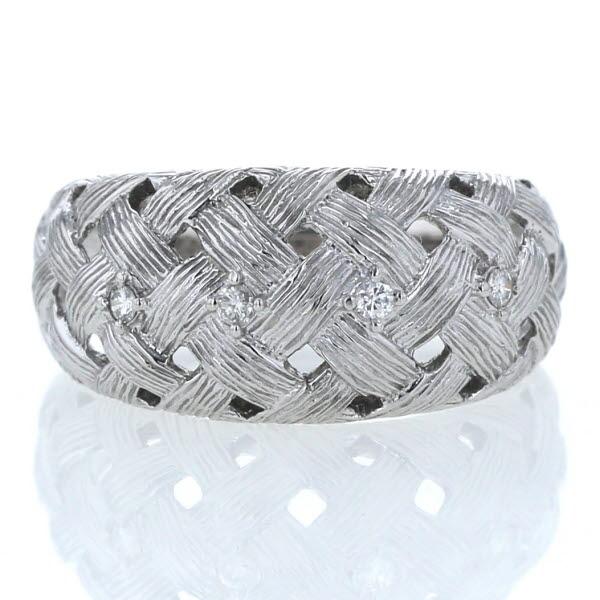 K18WG ホワイトゴールド リング ダイヤモンド 0.07ct 4石 編み目 編み込み 透かし デザイン 指輪 14.5号【新品仕上済】【zz】【中古】【送料無料】
