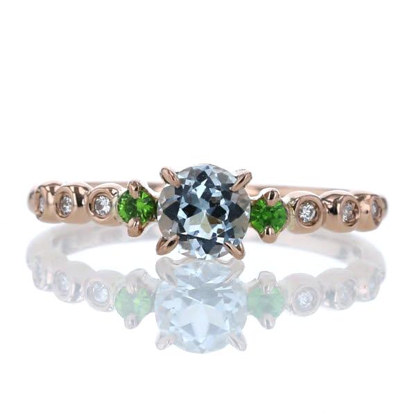 K18PG ピンクゴールド リング アクアマリン グリーンガーネット ダイヤモンド 0.05ct ストレート 指輪 11.5号【新品仕上済】【el】【中古】【送料無料】