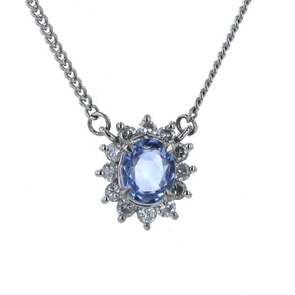 Pt850 プラチナ ネックレス サファイア 0.56ct ダイヤモンド 0.27ct ラウンド 取り巻き 花 フラワー シンプル 41cm【新品仕上済】【af】【中古】【送料無料】