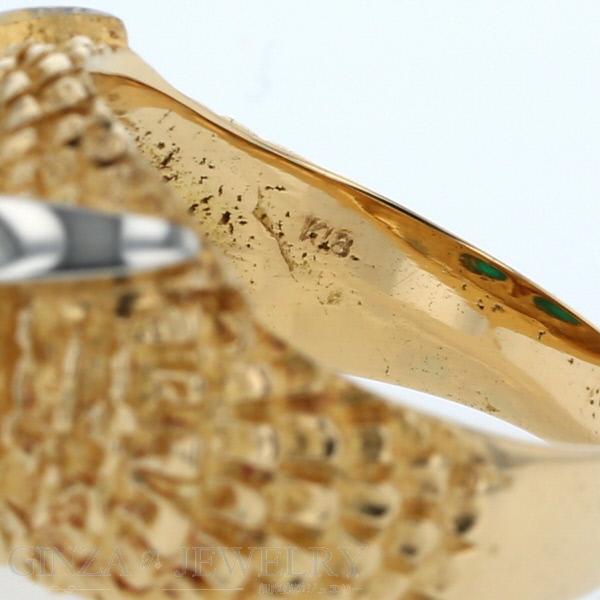 K18 イエローゴールド ホワイトゴールド リング フクロウ 梟 動物 鳥 モチーフ コンビ デザイン 14号 指輪新品仕上済zz送料無料0wPnOk
