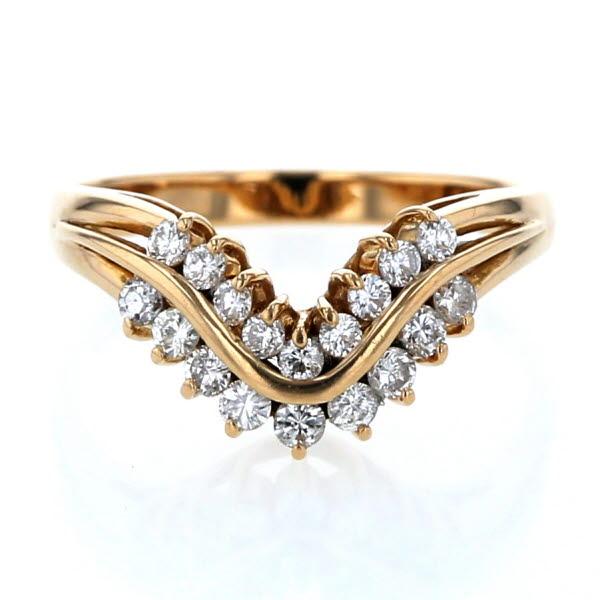K18YG イエローゴールド リング ダイヤモンド 0.34ct V字 Vライン デザイン 指輪 9.5号 レディース 【新品仕上済】【el】【中古】【送料無料】