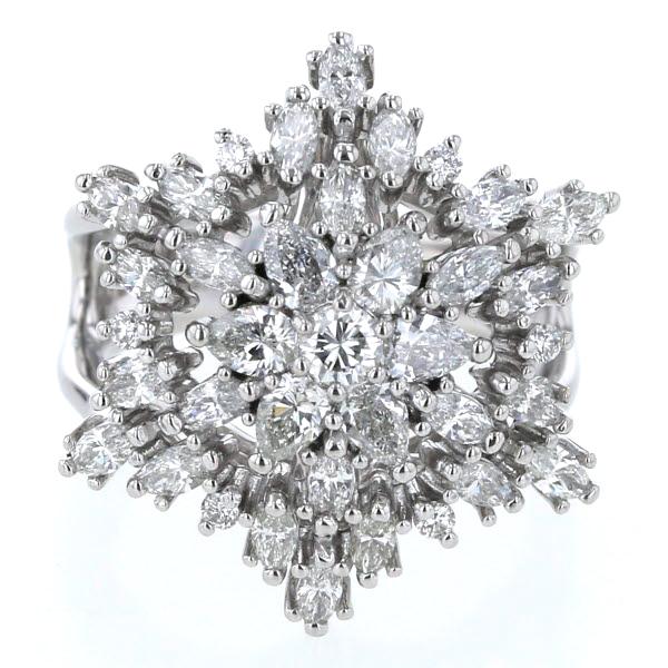 新入荷 Pt900 プラチナ リング ダイヤモンド 2.00ct 六芒星 スター フラワー 花 雪 スノー 六角形 幅広 指輪 12号【新品仕上済】【zz】【】【送料無料】, GBB b669d2e4