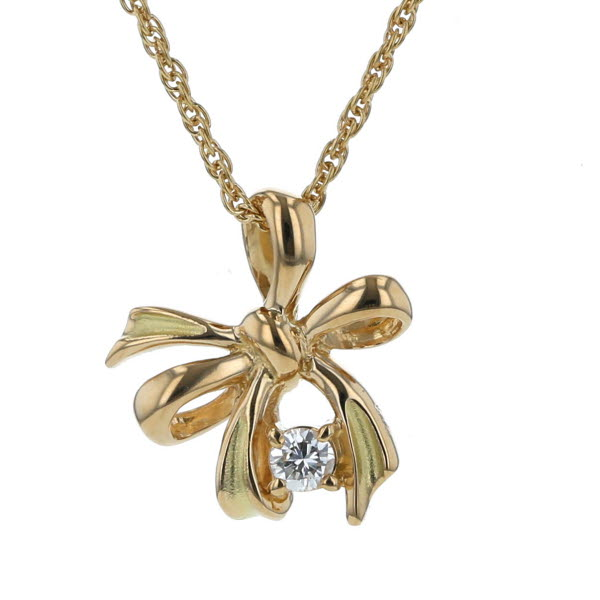 K18YG イエローゴールド ネックレス ダイヤモンド 0.10ct 1粒 リボン デザイン 40cm【新品仕上済】【el】【中古】【送料無料】