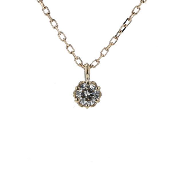canal4℃ カナルヨンドシー K10YG イエローゴールド ネックレス ダイヤモンド 1粒 デザイン シンプル 40cm 【新品仕上済】【el】【中古】