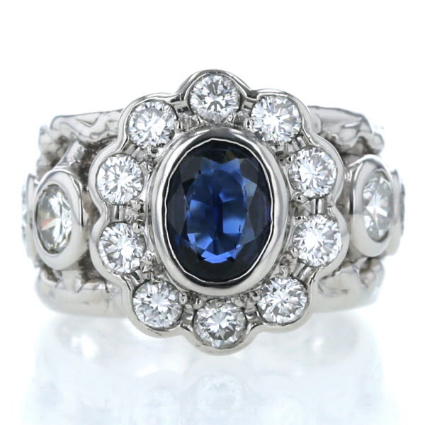 Pt900 プラチナ リング サファイア 1.42ct ダイヤモンド 0.91ct 10号 幅広 デザイン 指輪 メンズ レディース【新品仕上済】【zz】【中古】【送料無料】