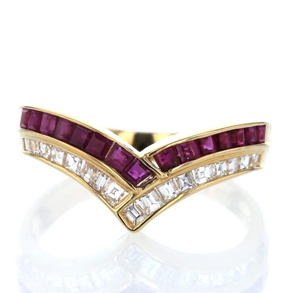 K18YG イエローゴールド リング ルビー 0.80ct ダイヤモンド 0.41ct V字 スクエア 13号 指輪【新品仕上済】【af】【中古】【送料無料】