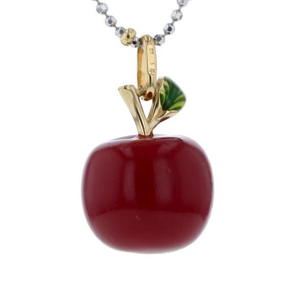 UNOAERRE ウノアエレ K18WG YG イエローゴールド ホワイト ネックレス リンゴ 果物 デザイン 41.5cm 【新品仕上済】【pa】【中古】