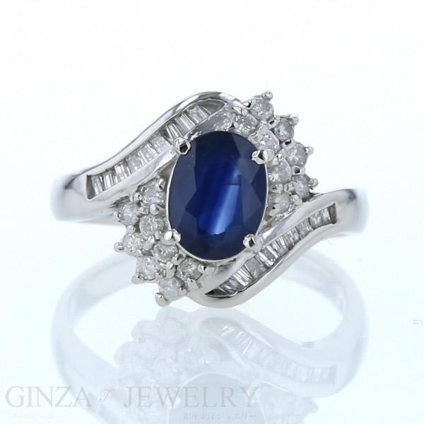 Pt900 プラチナ リング ブルーサファイア1.50ct ダイヤモンド0.55ct 13.5号 指輪【新品仕上済】【zz】【中古】【送料無料】