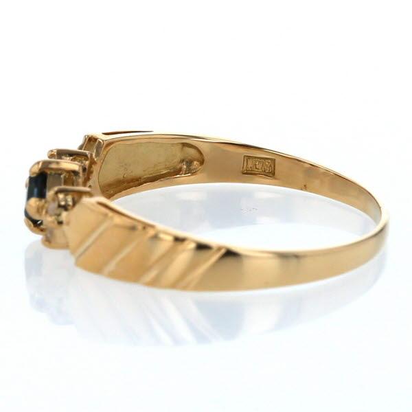 K18YG イエローゴールド リング サファイア 0 14ct ダイヤモンド 0 05ct スクエア デザイン 指輪 13号 新品仕上済el送料無料TlFcK1J
