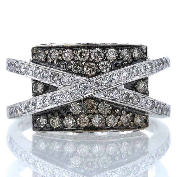 ジュエリーマキ SAMISTAR-D K18WG ホワイトゴールド リング ダイヤモンド 0.61ct/0.34ct パヴェ クロス 15号 指輪【新品仕上済】【zz】【中古】 【送料無料】