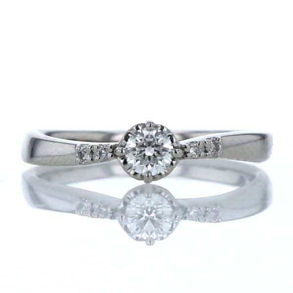 ELLE エル Pt950 プラチナ リング ダイヤモンド 0.15ct 0.02ct 5石 ハート シンプル デザイン 指輪 8号【新品仕上済】【pa】【中古】【送料無料】