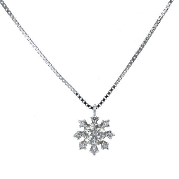 K10WG ホワイトゴールド ネックレス ダイヤモンド 0.22ct フラワー 花 結晶 デザイン 41cm【新品仕上済】【el】【中古】【送料無料】
