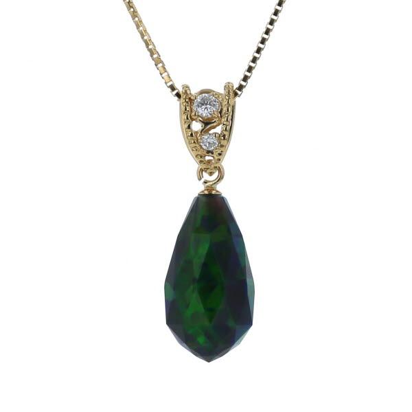 K18YG イエローゴールド ネックレス 模造ブラックオパール 3.00ct ダイヤモンド 0.04ct ブリオレット 雫 ドロップ 46cm【新品仕上済】【af】【中古】【送料無料】