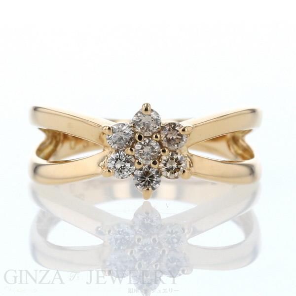 K18 イエローゴールド リング ダイヤモンド 0.35ct 花 フラワー 透かし 12号 3.4g デザイン 【新品仕上済】【af】【送料無料】