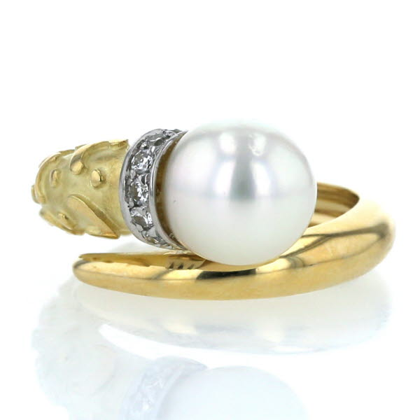 K18YG イエローゴールド K18WG リング 真珠 パール 8.4mm ダイヤモンド 螺旋 スクリュー デザイン 指輪 9.5号【新品仕上済】【zz】【中古】【送料無料】