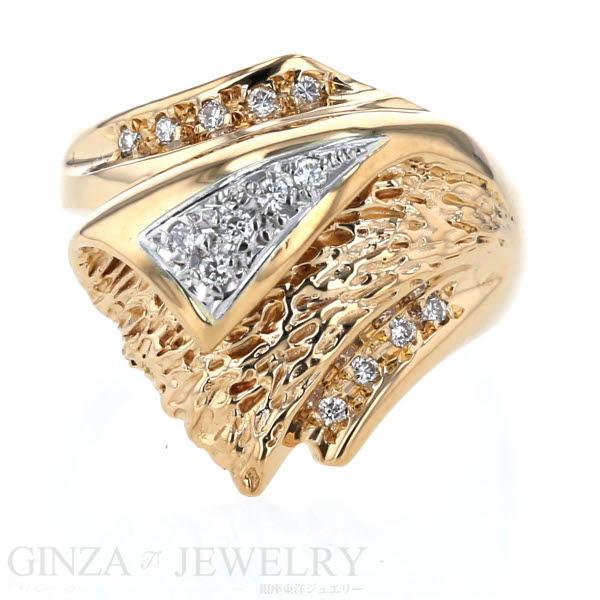 K18 Pt900 イエローゴールド プラチナ リング ダイヤモンド 0.15ct ウェーブ デザイン 13.5号 指輪【新品仕上済】【af】【中古】