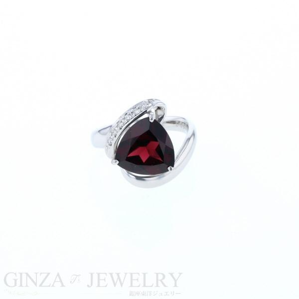 pt900 プラチナ リング ロードライドガーネット 4.28ct ダイヤモンド 0.07ct 指輪 12号 【新品仕上済】【zz】【中古】【送料無料】