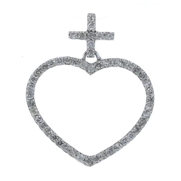 K14WG ホワイトゴールド ネックレストップ ダイヤモンド 0.61ct オープンハート クロス 十字架 デザイン【新品仕上済】【el】【中古】【送料無料】