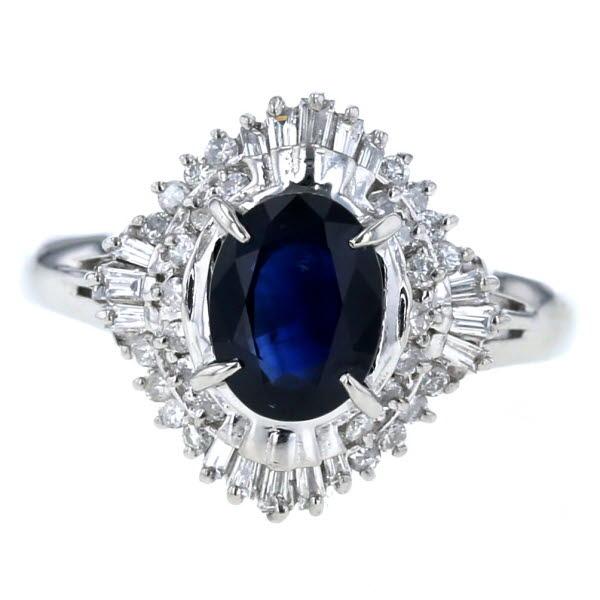 Pt900 プラチナ リング サファイア 1.74ct ダイヤモンド 0.41ct ラウンド 取り巻き 大きいサイズ 指輪 17号【新品仕上済】【el】【中古】【送料無料】