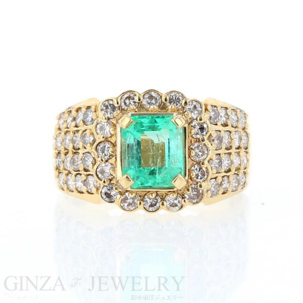 K18YG イエローゴールド リング エメラルド1.11ct ダイヤモンド1.00ct ゴージャス 指輪 12号【新品仕上済】【zz】【中古】