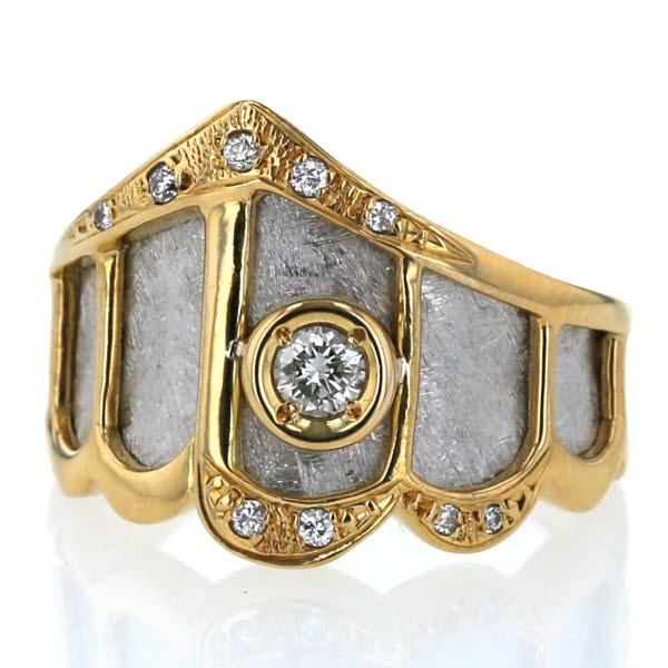 K18YG Pt900 イエローゴールド プラチナ リング ダイヤモンド0.10ct 0.06ct コンビ 扇 マット 指輪 8号【新品仕上済】【zz】【中古】【送料無料】
